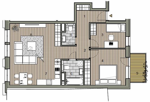 Byt, 3 - izbový, 75.54m2, Bratislava I - Staré Mesto, Beskydská ulica